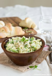 A (lightened-up) creamy broccoli and sweet pea orzo dish. This dish can be made in one pot and makes the perfect side-dish or dinner with some added protein.