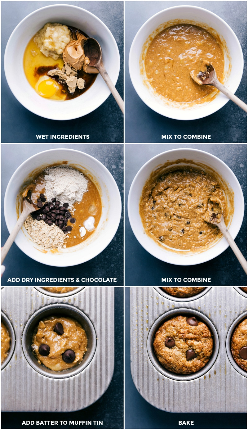 Process shots-- images of the wet ingredients being added to the dry; everything being mixed to combine; added to the prepared muffin tins to bake.