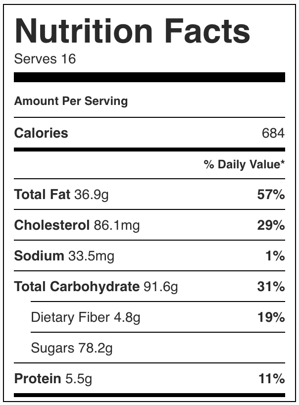 Nutrition facts in chocolate cake