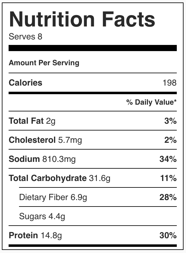 Nutrition facts in tex mex