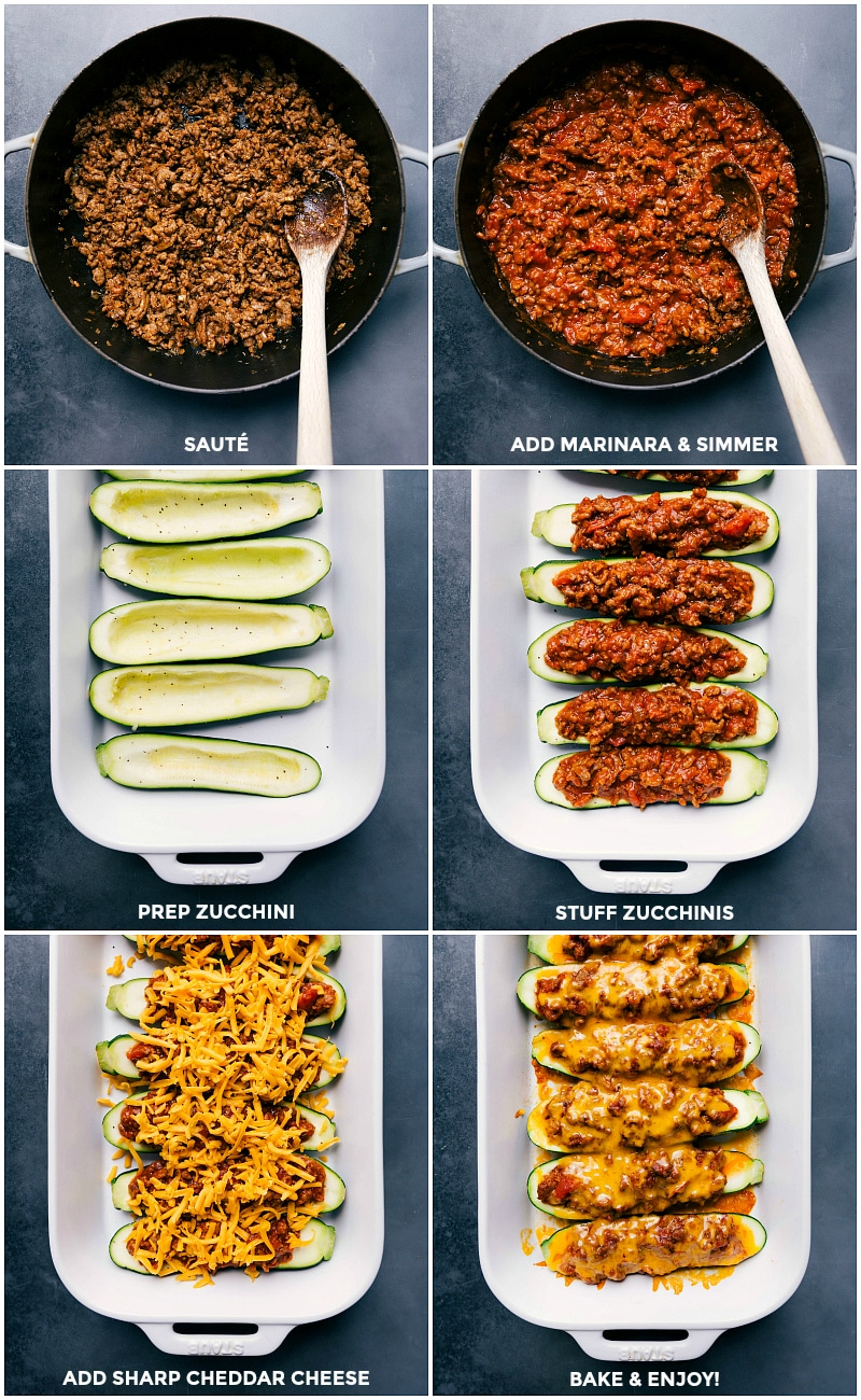 Process shots: sauté sausage and seasonings; add marinara sauce and simmer; prep the zucchini; stuff zucchini with meat mixture; top with Cheddar cheese; bake.