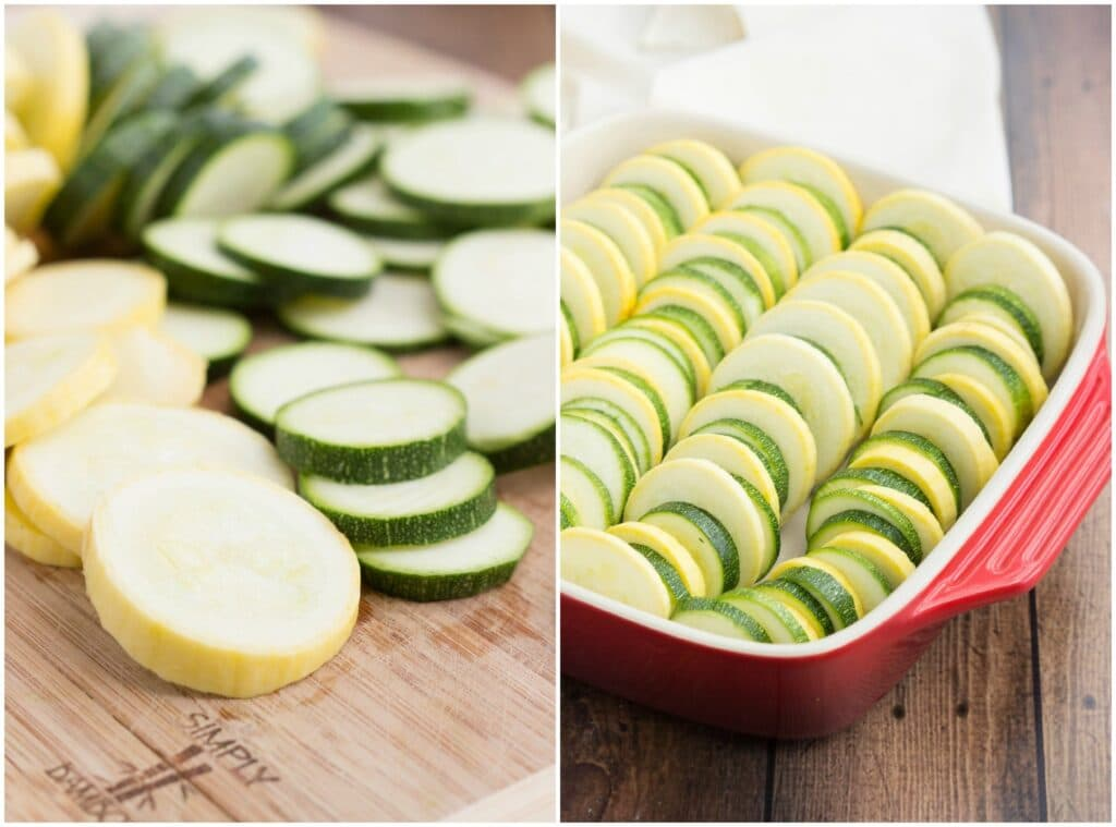 A zucchini and summer squash gratin! Perfect summer side dish and MUCH lighter than a potato gratin