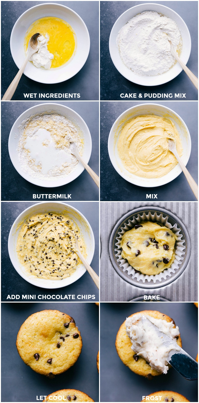 Process shots: mixing the wet ingredients; combining the cake mix and pudding mix; stirring buttermilk into the two mixes; adding mini chocolate chips, spooning dough into muffin cups; cooling once baked; frosting with cream cheese frosting.