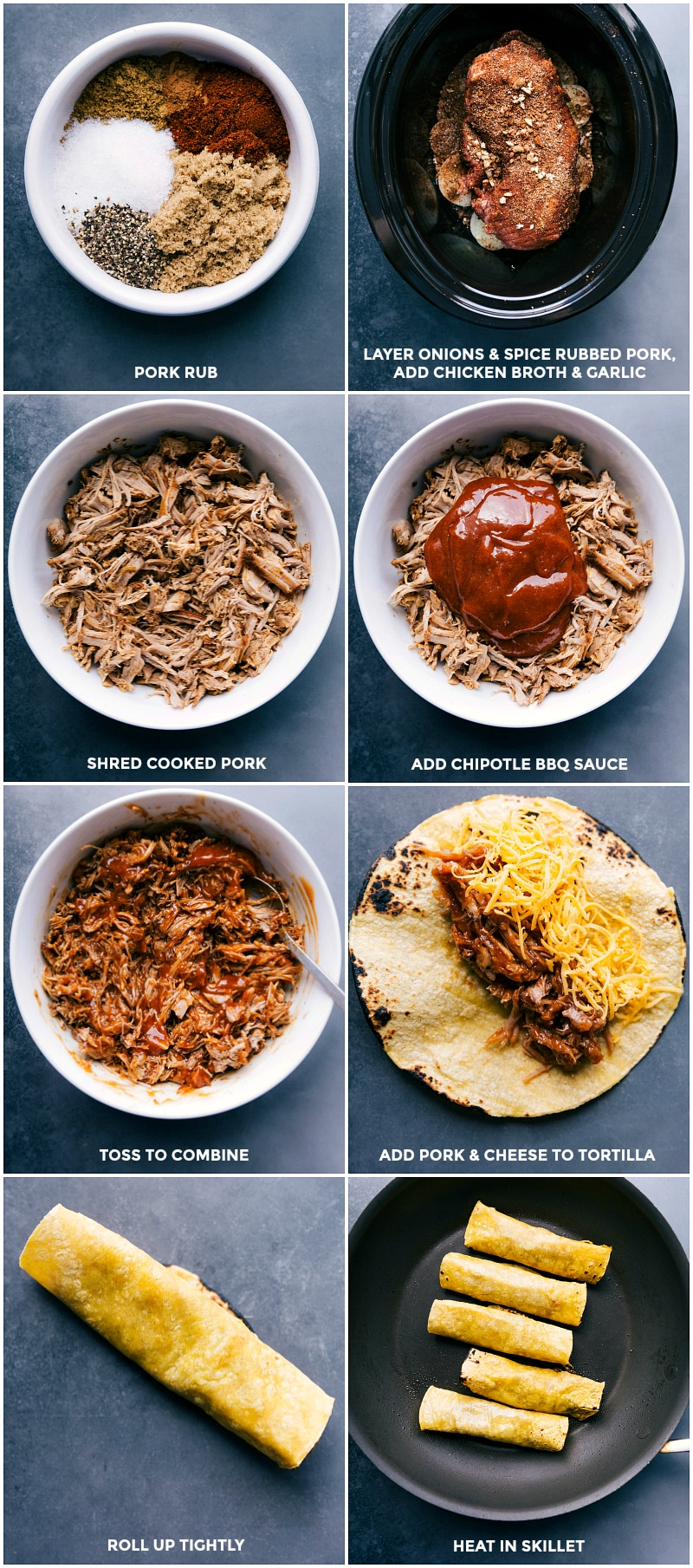 Process shots-- images of the pork being prepped in the slow cooker; then being cooked; and shredded; BBQ sauce being added; then the pork being added to a tortilla with cheese; rolled up; and fried in a skillet.