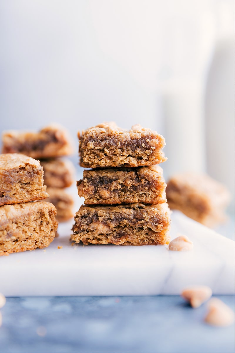 Image of the peanut butter banana bars stacked on top of each other