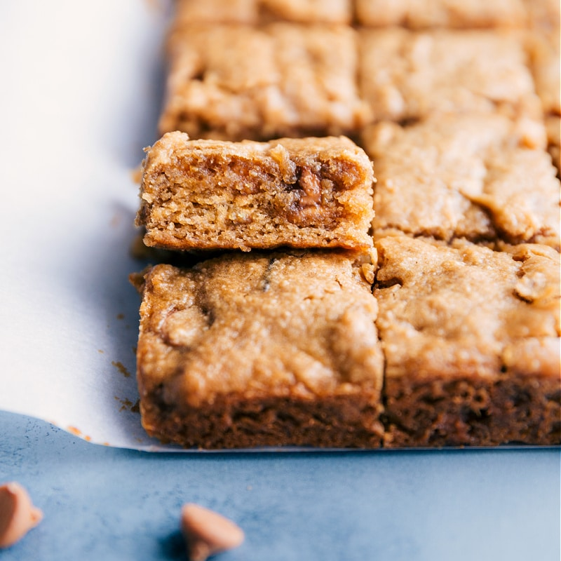Up close image of the peanut butter banana bars ready to be eaten