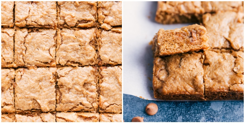 Image of the peanut butter banana bars cut into squares