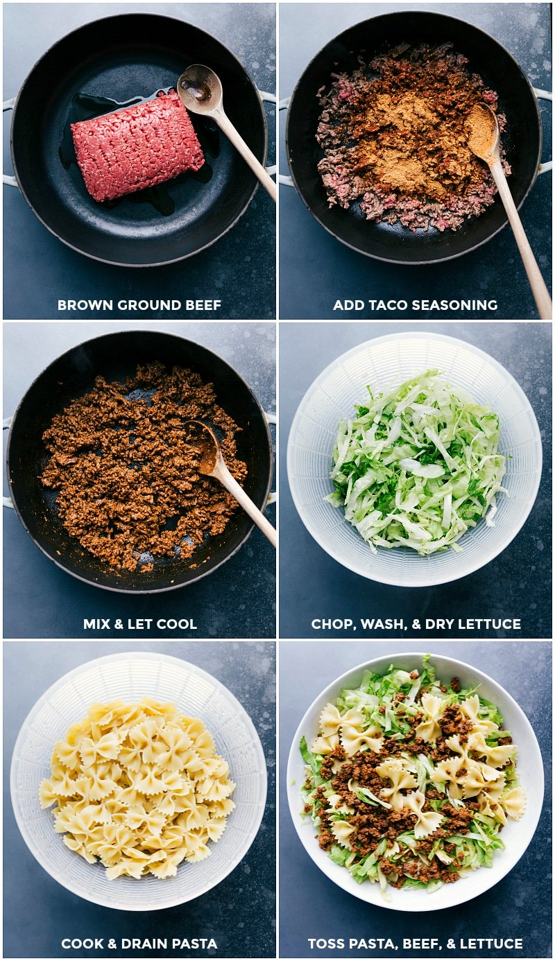 Process shots-- cooking the ground beef; chopping the lettuce; Cooking and draining the pasta; and combining everything