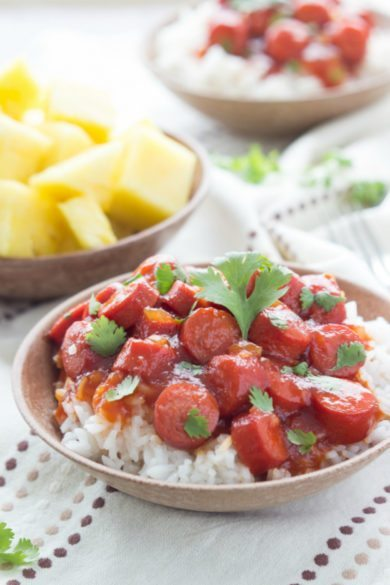 BBQ Hot Dogs over Rice