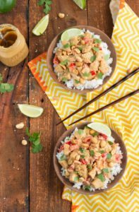 A simple, under 30 minute peanut sauce chicken stir-fry