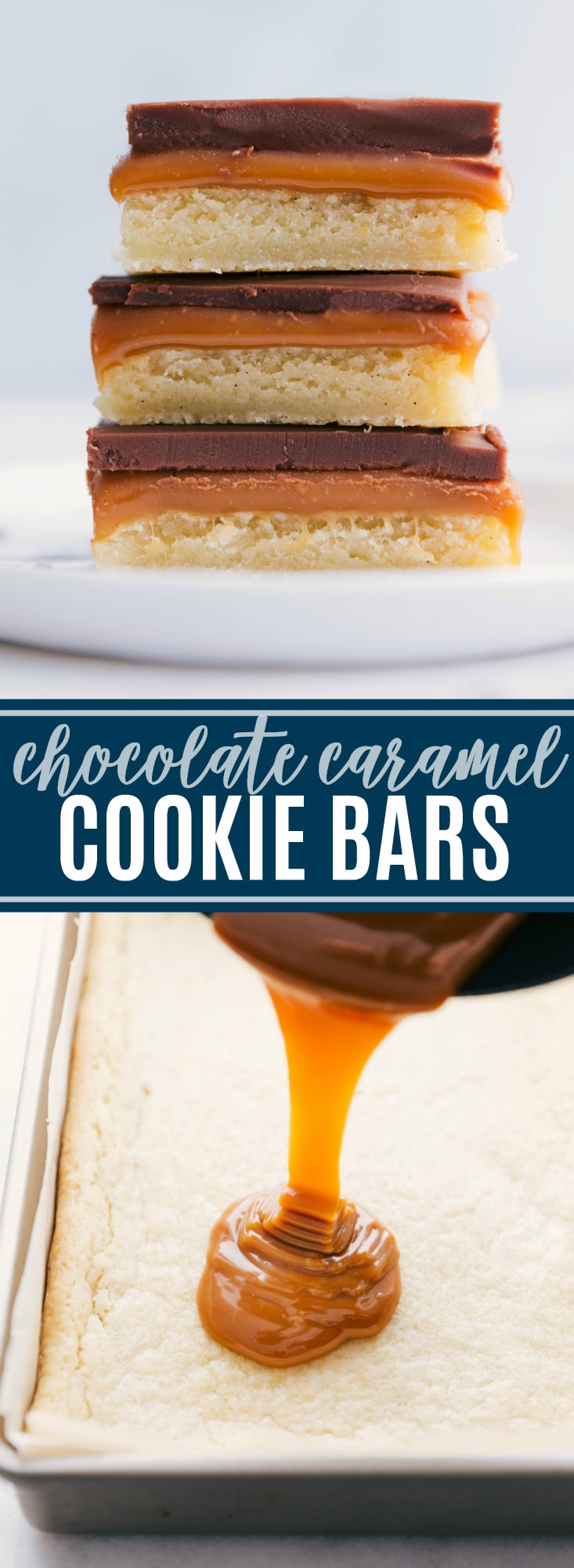 A delectable, homemade twix bar with a soft & chewy sugar cookie base, creamy caramel center, and a velvety smooth chocolate topping. via chelseasmessyapron.com #dessert #twix #bar #easy #quick #caramel #chocolate #sugar #cookie #bar