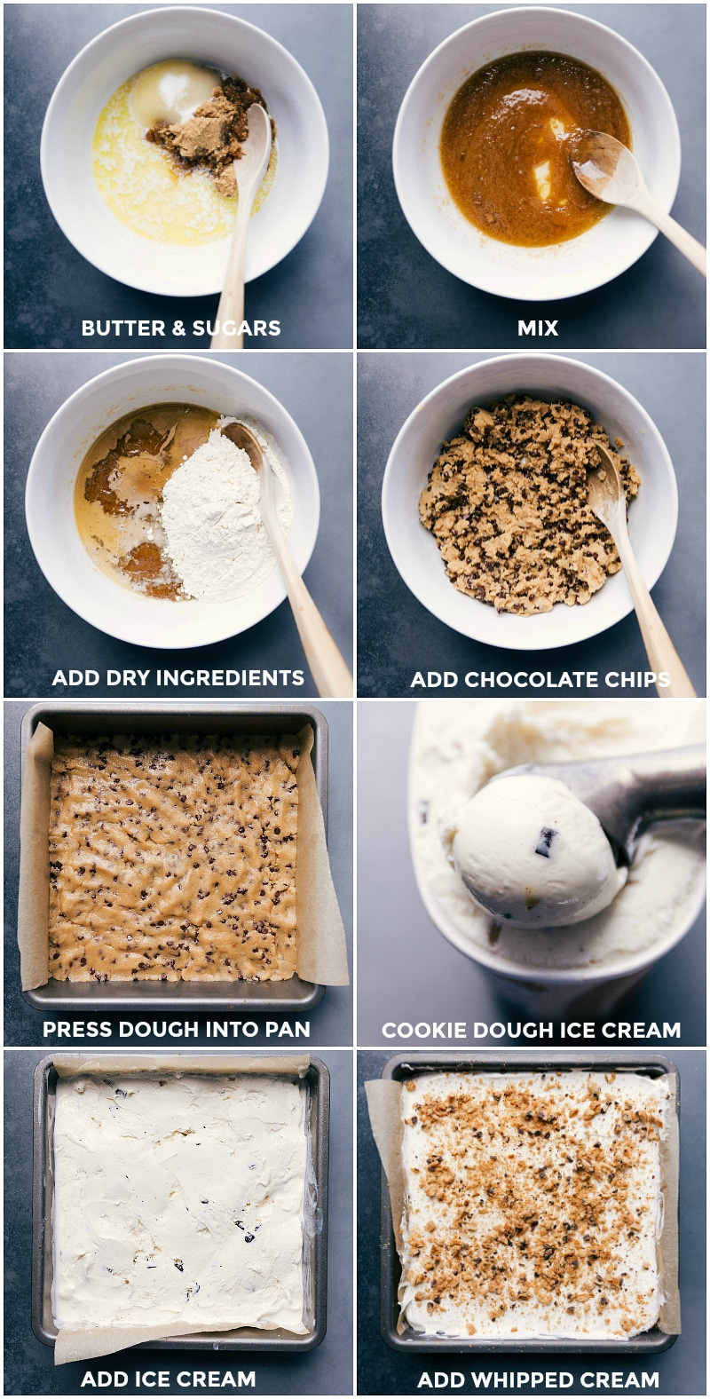 Process shots-- images of the cookie dough base being made and pressed into the pan; the ice cream being scooped over the dough; and whipped cream added on top and frozen.