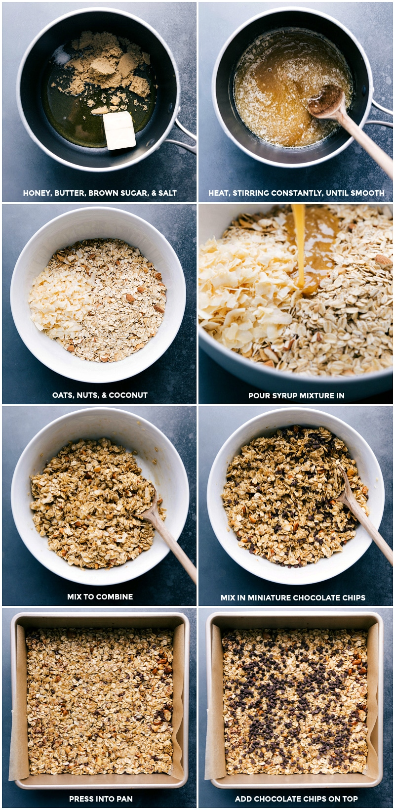 Process shots of making Homemade Granola Bars: melt honey, butter, brown sugar and salt; heat and stir until smooth; combine oats, nuts and coconut; pour syrup mixture in; combine and mix in chocolate chips; press into pan; add chocolate chips on top.