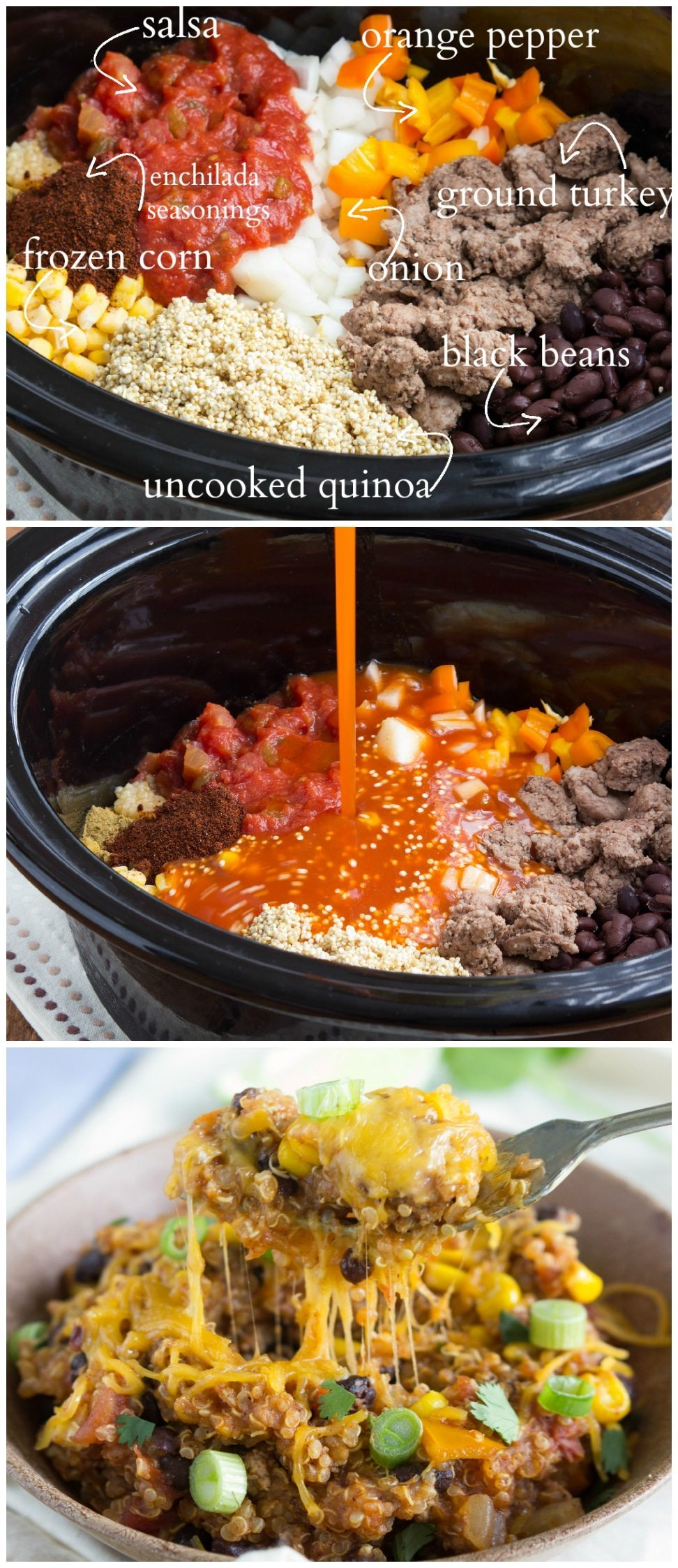 A simple, slow cooker meal - cheesy enchilada quinoa I www.chelseasmessyapron.com