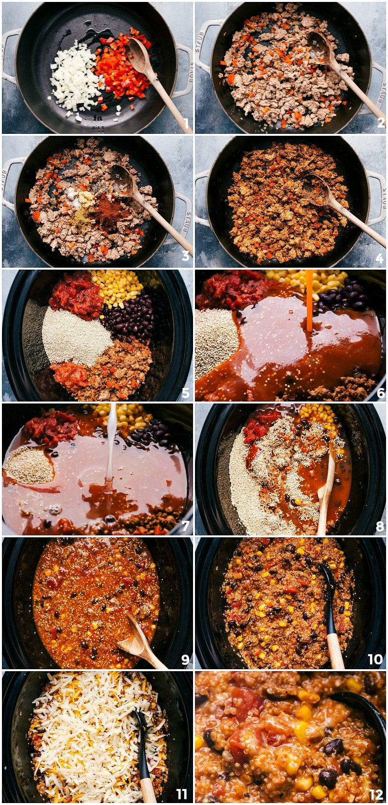 Process shots-- images of the ingredients that go in the slow cooker being prepped, cooked, added, and then mixed together.