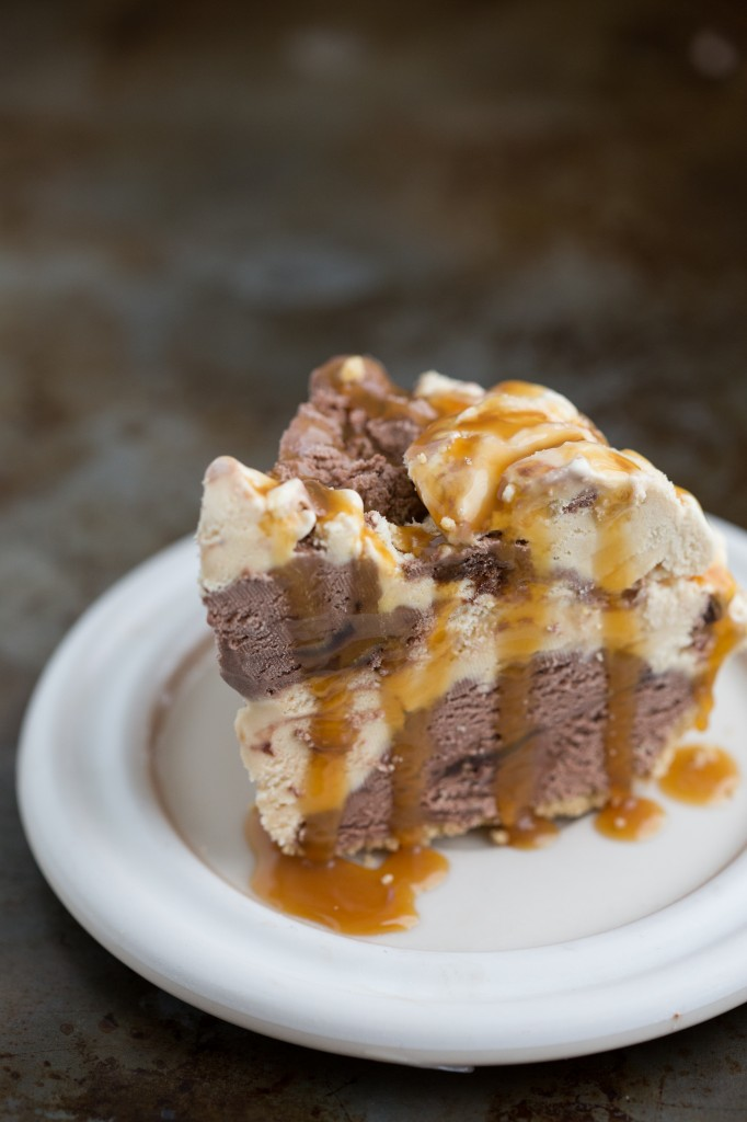 Only 3-ingredients and 10 minutes prep!! Salted-Caramel Truffle and Chocolate Fudge Brownie Ice Cream Pie