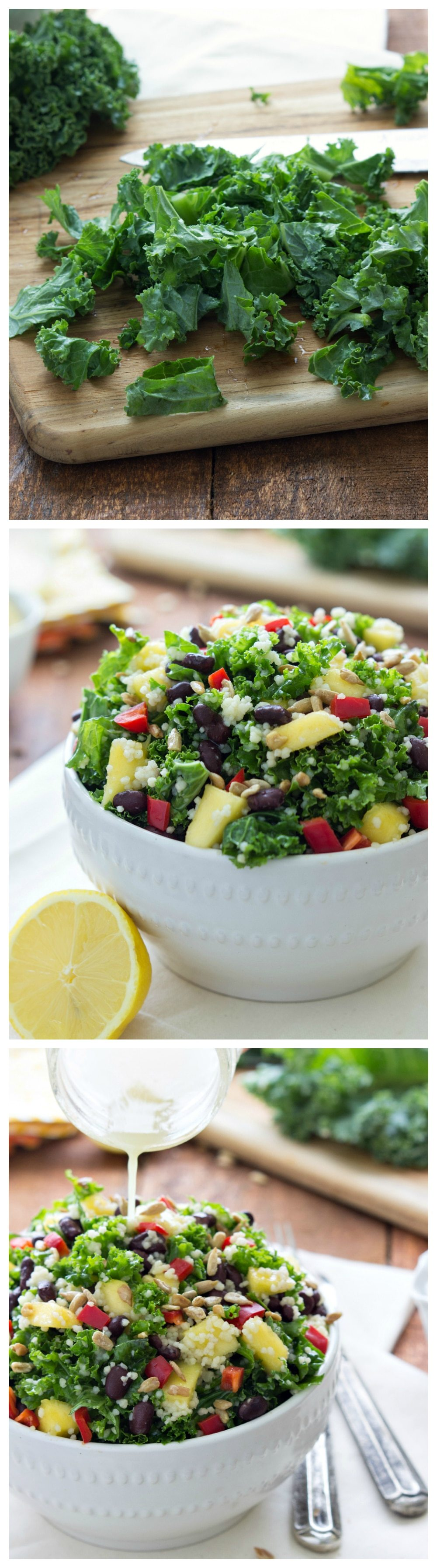 A simple detoxifying salad - couscous and kale mixed with a lemon vinaigrette I via chelseasmessyapron I #cleaneating #kale #mango