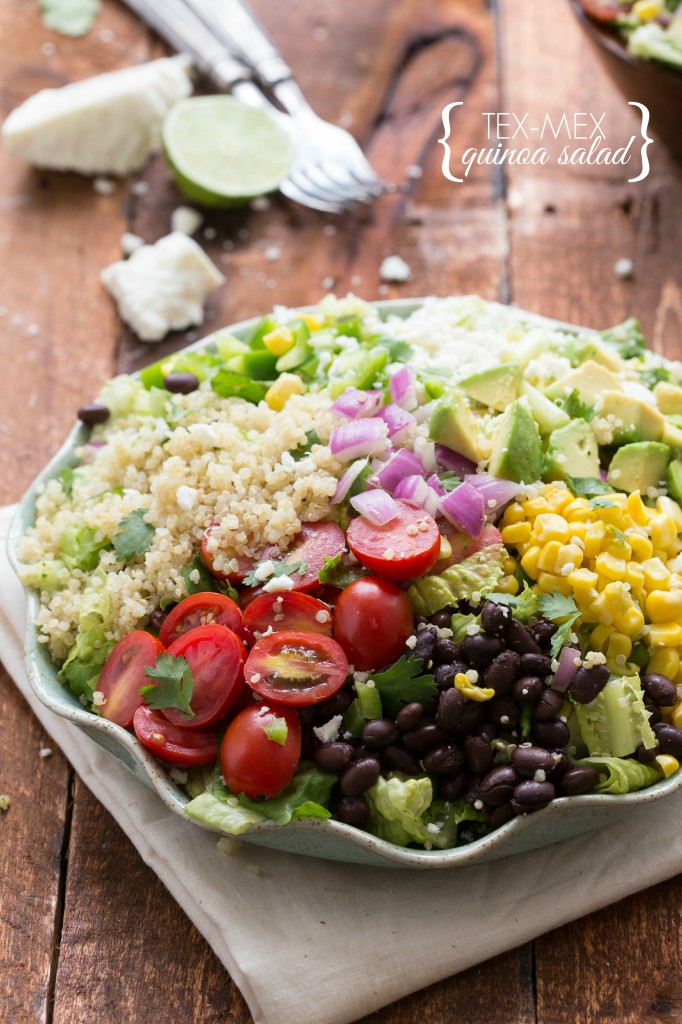 Tex Mex Quinoa Salad with a Cilantro-Lime Vinaigrette I via chelseasmessyapron.com I #cleaneating #quinoa