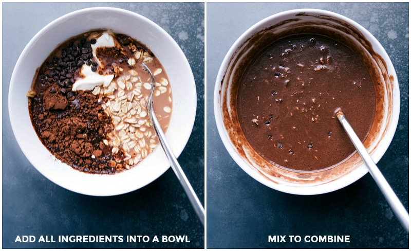 Process shots-- images of all the Brownie Batter Overnight Oats ingredients in a bowl; and then the ingredients being combined.