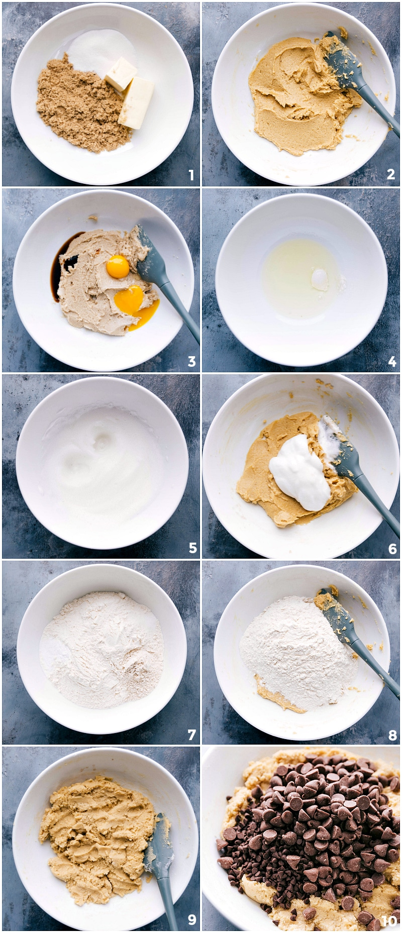 Process shots: combining sugar and wet ingredients; mixing well; combining dry ingredients; adding dry ingredients to the wet; mixing; adding two types of chocolate chips.