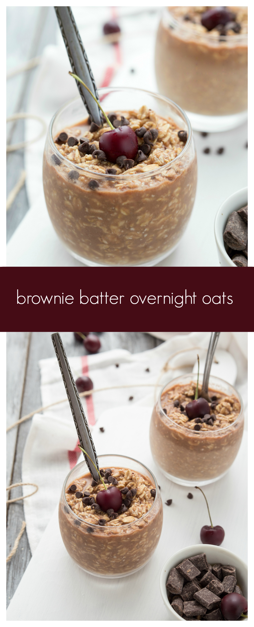 Double-Chocolate Brownie Batter Overnight Oats I via chelseasmessyapron.com I #brownie #overnightoats #cleaneating #chocolate