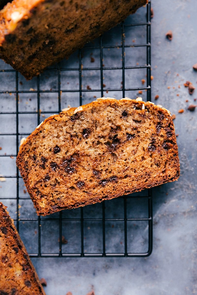 Image of a slice of Healthy Banana Bread.