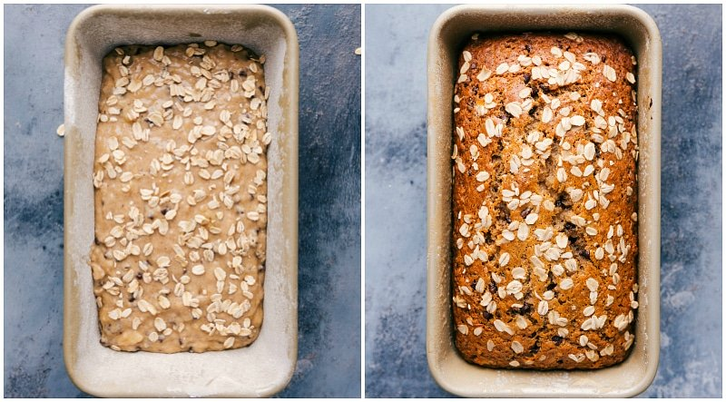 Image of the unbaked banana bread in the bread tin followed by the baked one in the tin.