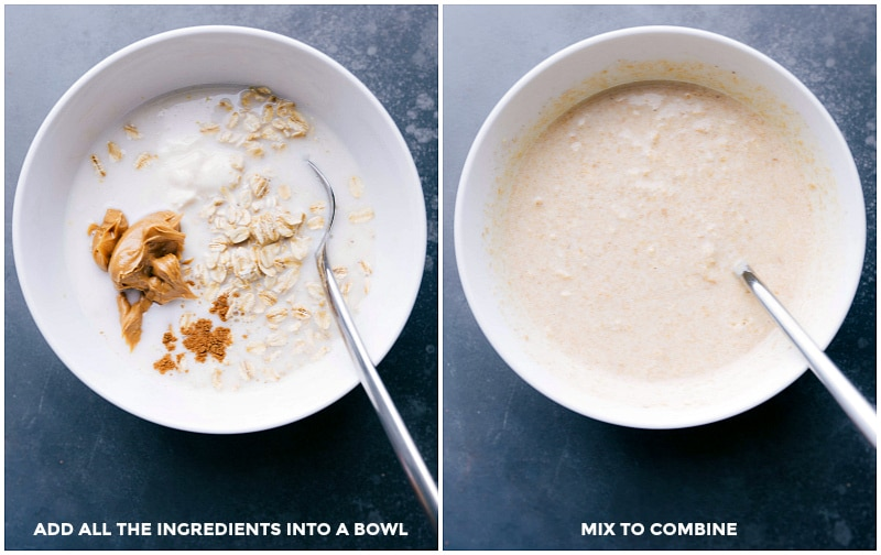 Process shots-- images of all the ingredients in a bowl; then being mixed together.