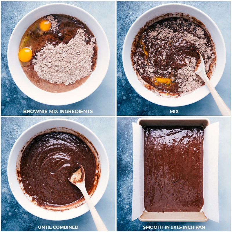 Process shots-- mixing the brownie ingredients; smoothing into the pan