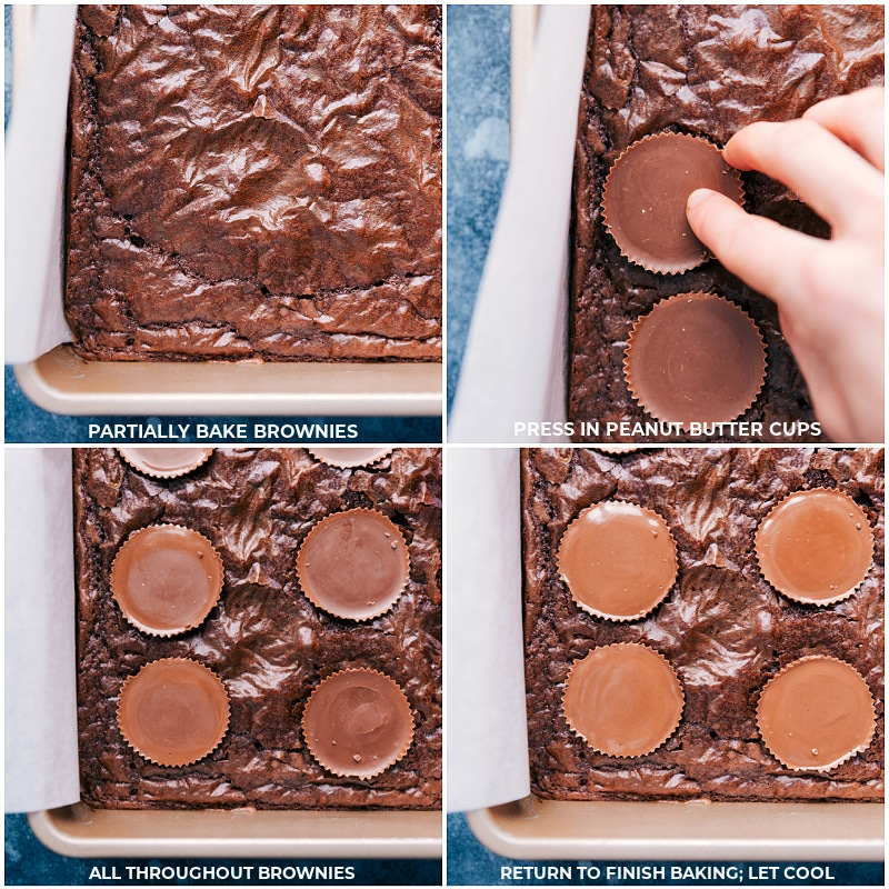 Process shots-- partially bake the brownies; press peanut butter cups into the brownies; return to the oven to finish baking