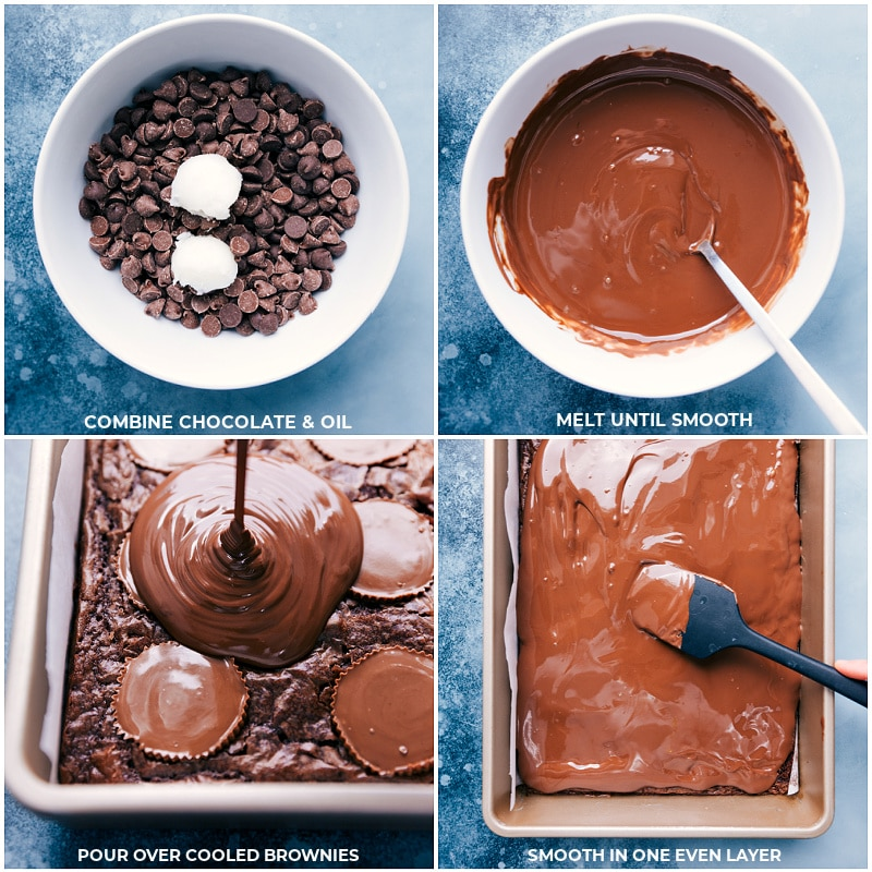 Process shots-- combine chocolate and coconut oil; melt until smooth; pour over cooled brownies; smooth into an even layer