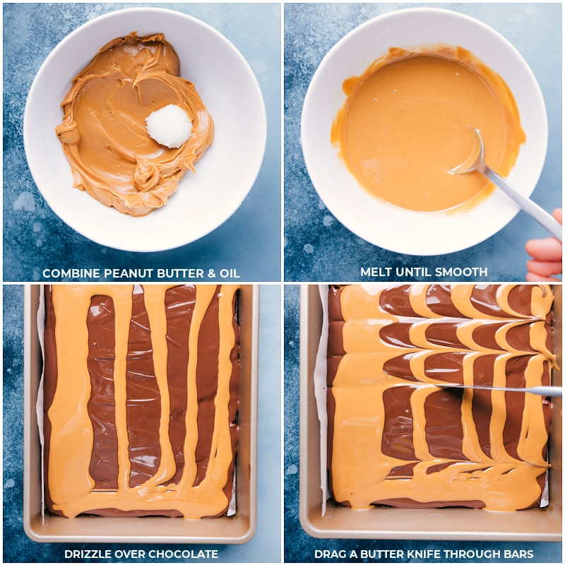 Process shots-- combine peanut butter and oil; melt until smooth; drizzle over the chocolate; drag a knife through topping but not into the actual brownies.