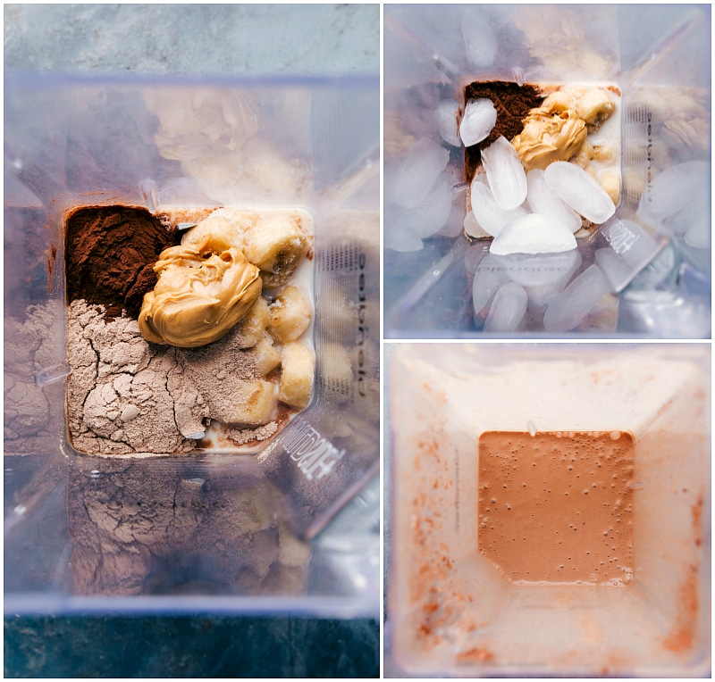Process shot-- image showing all the ingredients for Peanut Butter Protein Shake being added to the blender and then being blended.