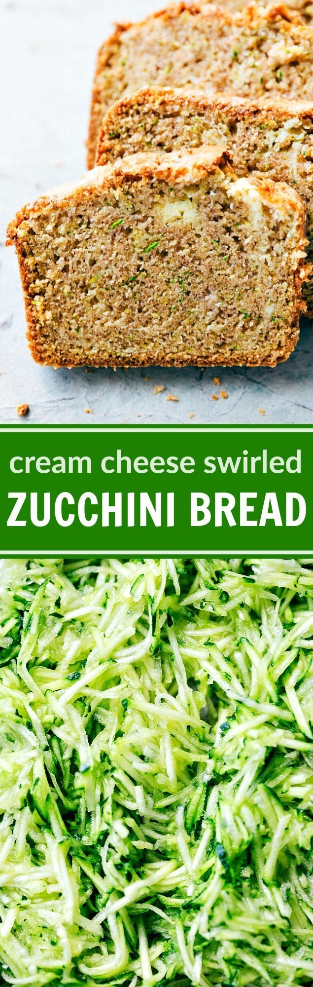 A deliciously thick swirl of cream cheese inside the best ever zucchini bread. This