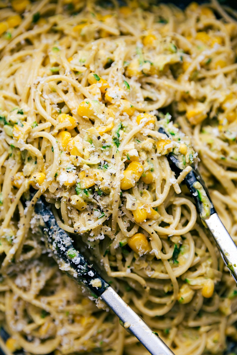 Up-close view of Zucchini Pasta Sauce, served with spaghetti.