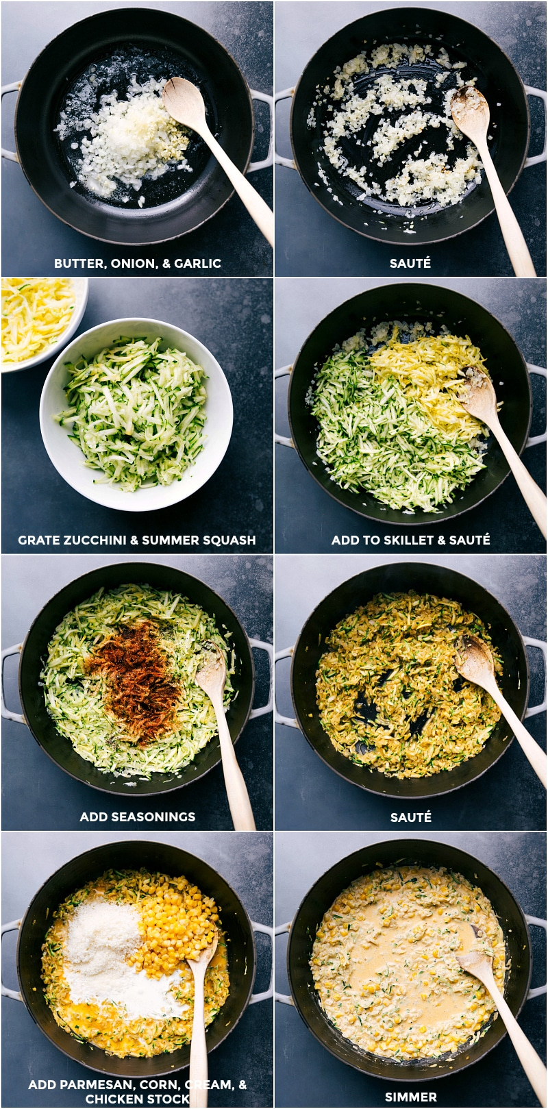 Process shots: Sauté butter, onion and garlic; grate zucchini and summer squash; add to skillet and sauté; add seasonings and sauté; add Parmesan, corn, cream and chicken broth; simmer to blend flavors.
