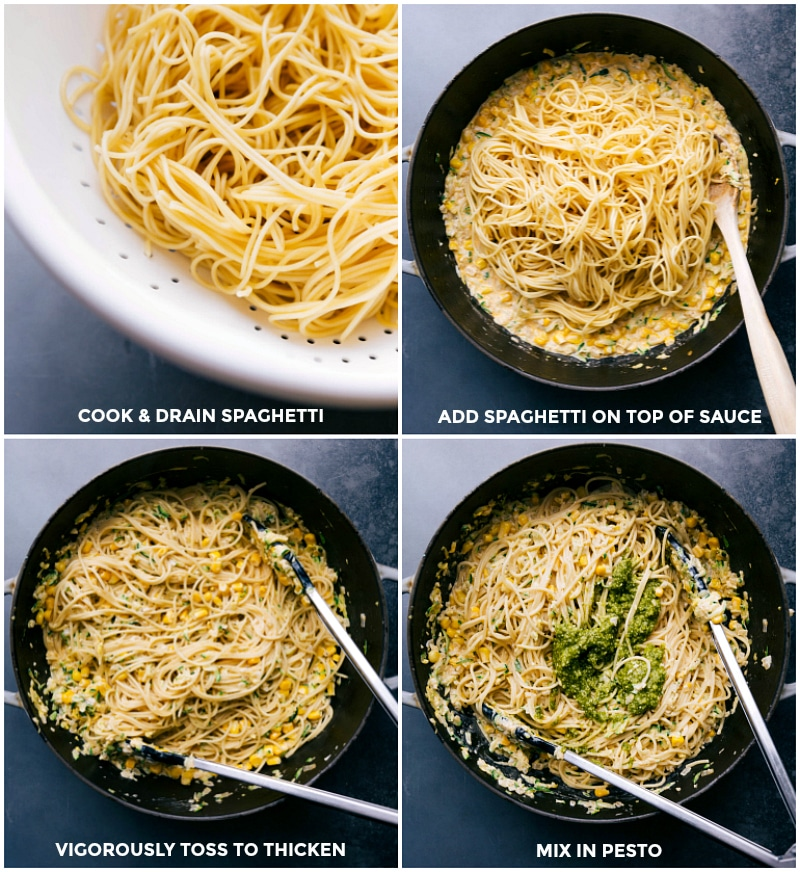 Process shots: Cook and drain spaghetti; add to the sauce; mix with tongs; stir in pesto.