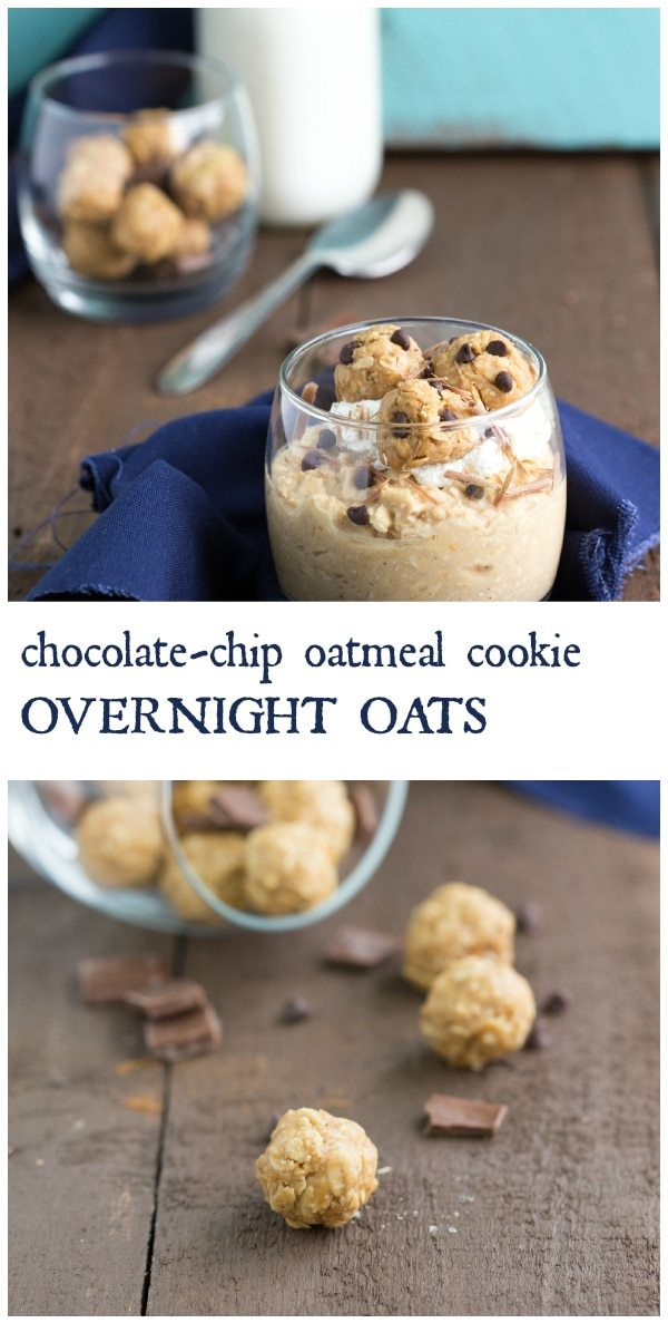 Peanut Butter Chocolate-Chip Oatmeal Cookie Overnight Oats I via chelseasmessyapron.com I #cleaneating #overnightoats