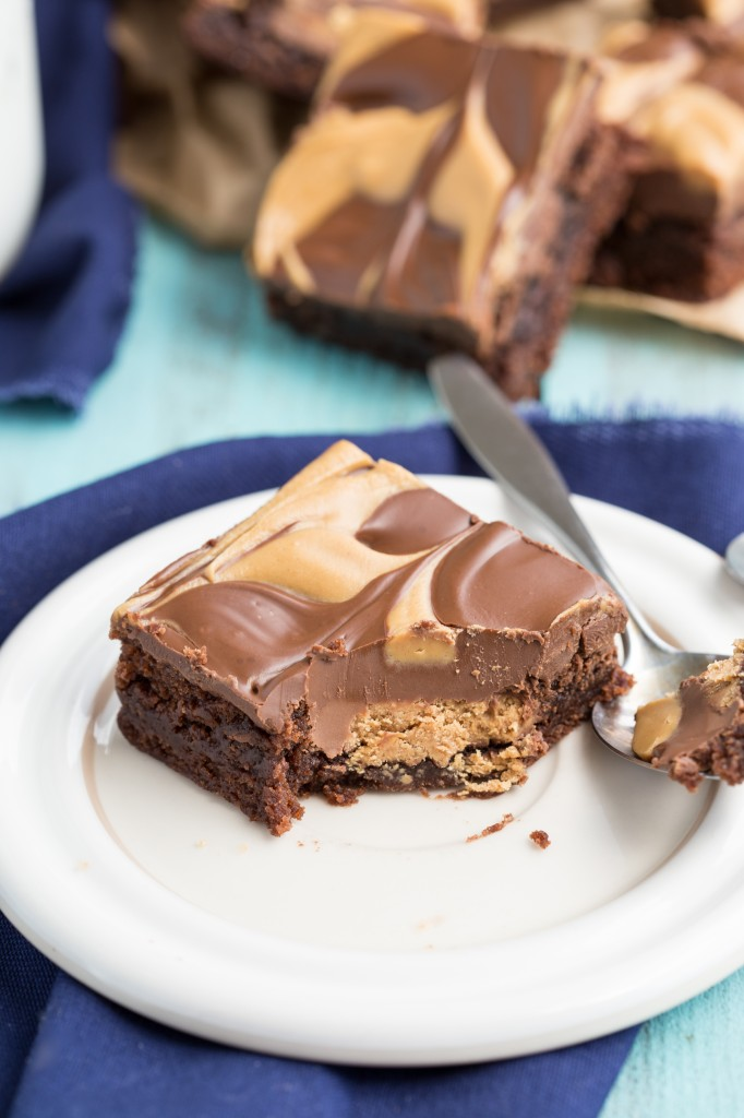 Double-Layered Peanut Butter Cup Brownies I via chelseamessyapron.com