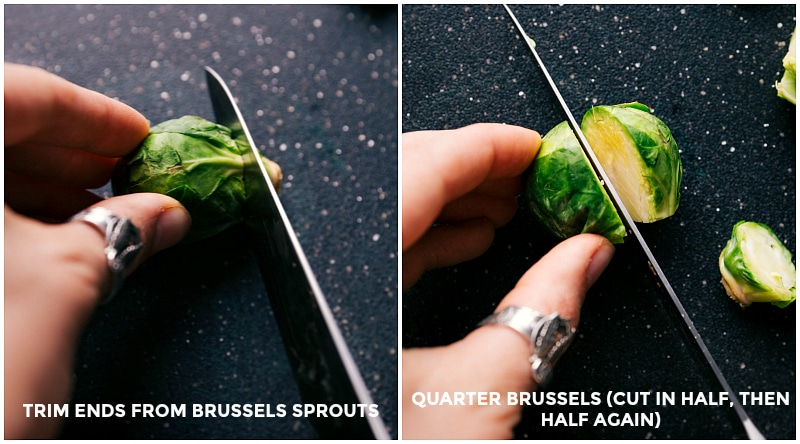 Process shots-- images of how the Brussel sprouts are cut before cooking.