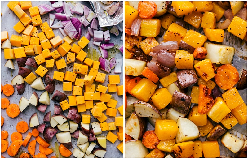 Process shot-- image of the veggies being roasted for this soup
