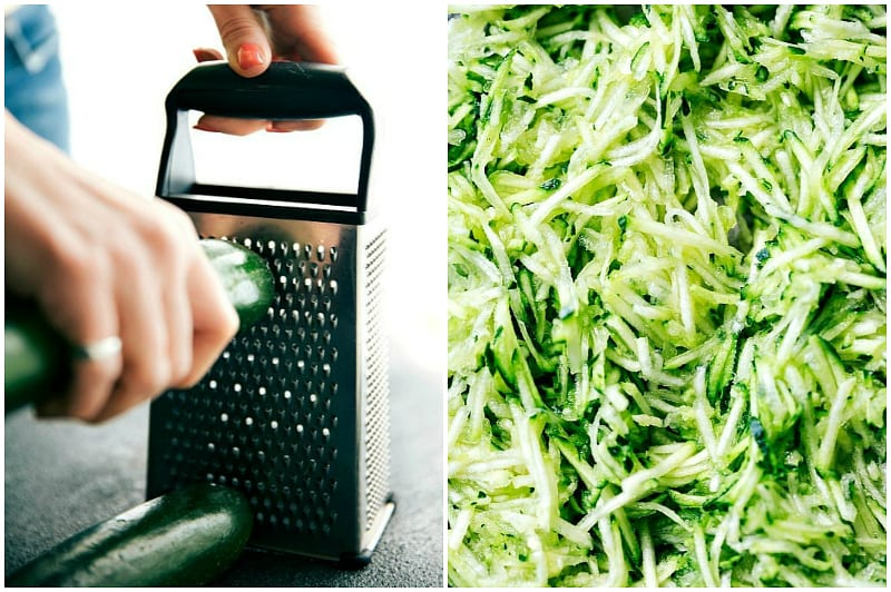 Process shots of grating zucchini and showing the grated zucchini