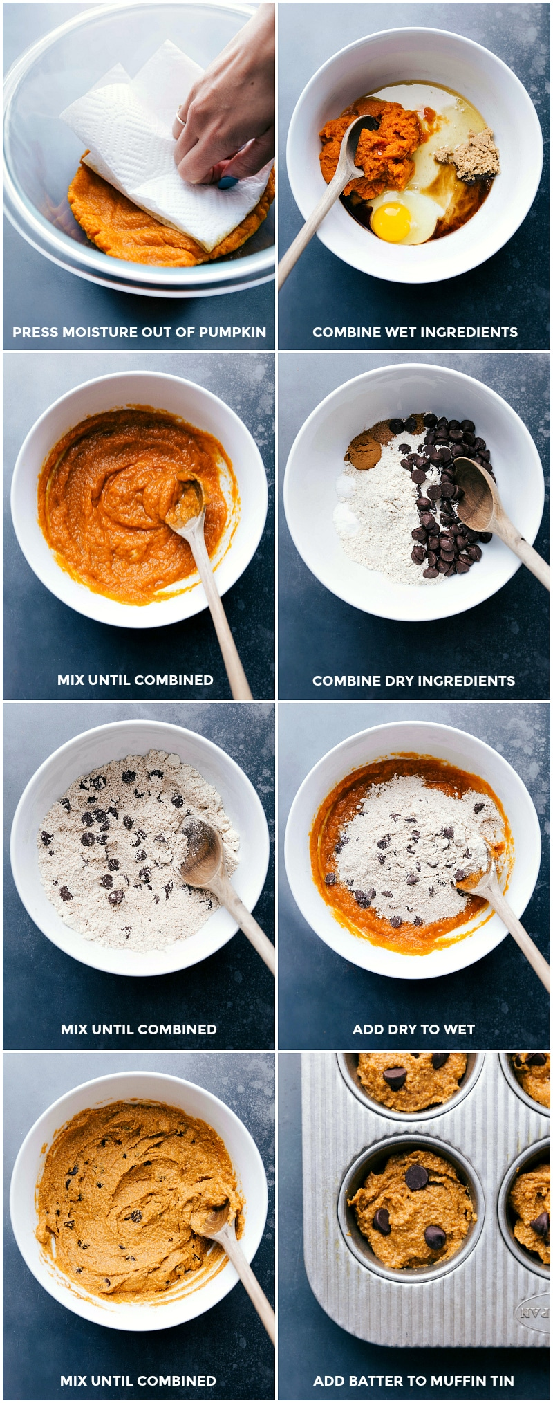 Process shots-- images of the wet and the dry ingredients being combined and added to a prepared muffin tin