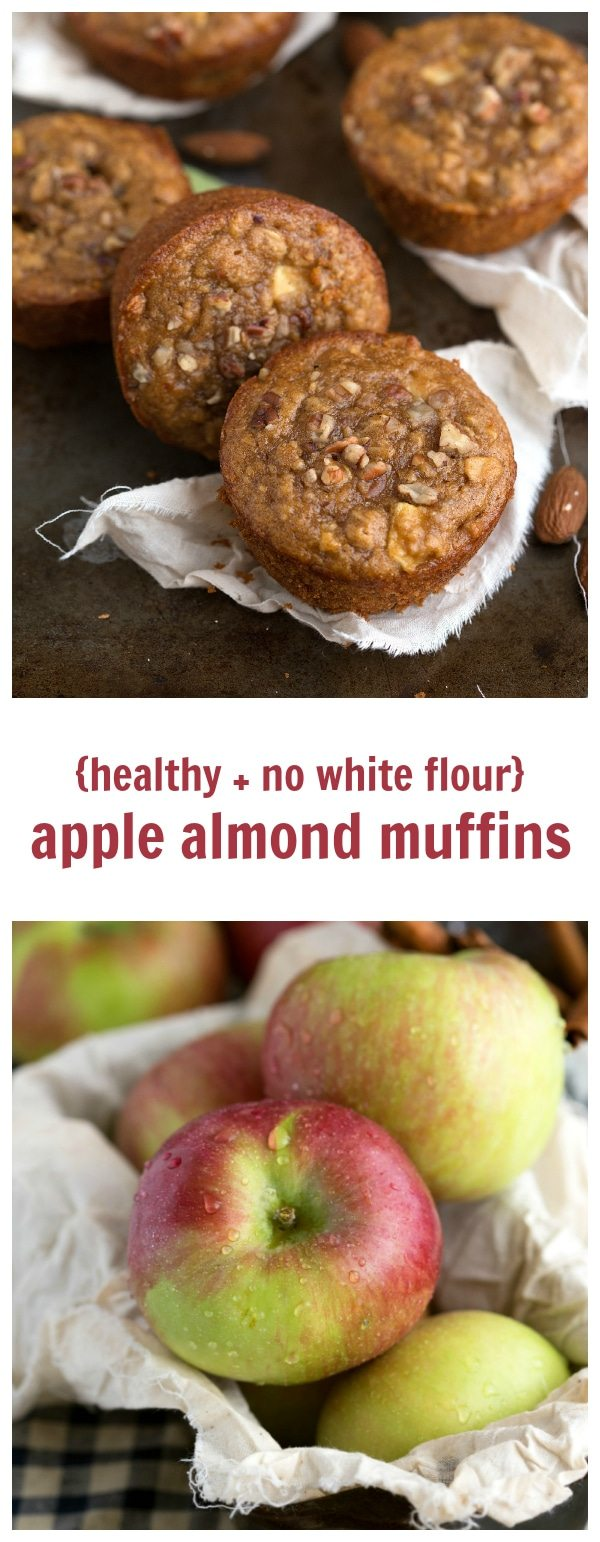 No white flour, no butter, and no oil in these almond butter, apple, and pecan muffins. These muffins are bursting with flavor, healthy, and gluten-free!