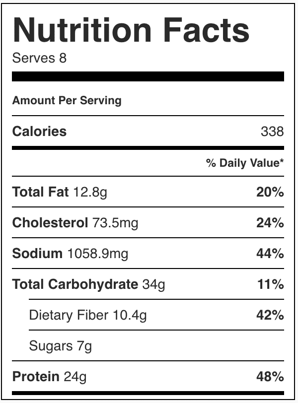 Nutrition facts for this chicken quesadilla soup crockpot recipe
