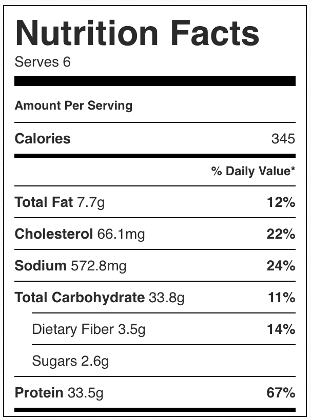 Nutrition facts in quinoa chicken casserole