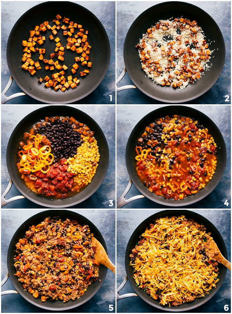Process shots-- images of the one skillet Sweet Potato Burrito Bowls being made