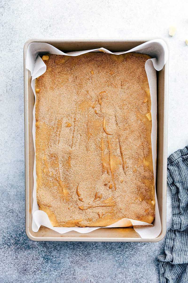 Image of the easy snickerdoodle blondies fresh out of the oven still in the pan