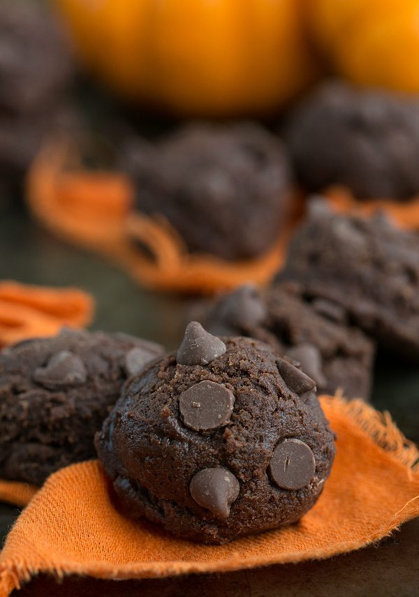 4 ingredients NO BAKE Brownie pumpkin cookies! #pumpkin #brownie #chocolate #nobake #cookie