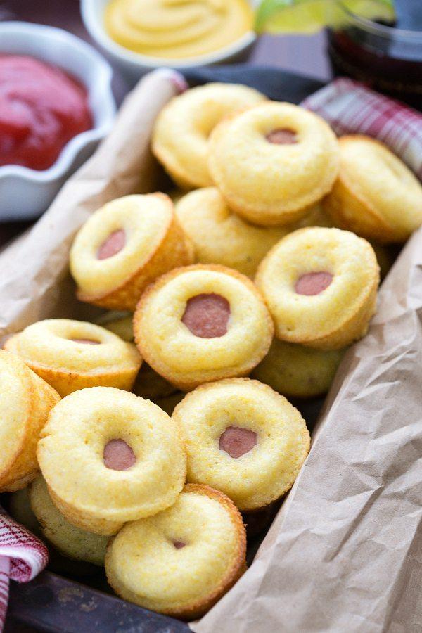 Simple 3-ingredient mini cornbread corndogs. Perfect for tailgating!!